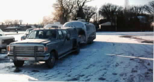 1975 Airstream- with snow and slush